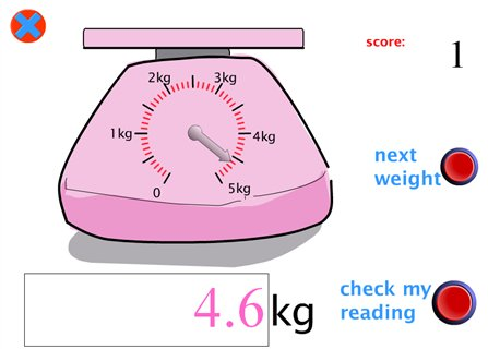 Read the weight represented by the scales. 4 sets of scales, reading ...