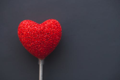 A heart on a grey background