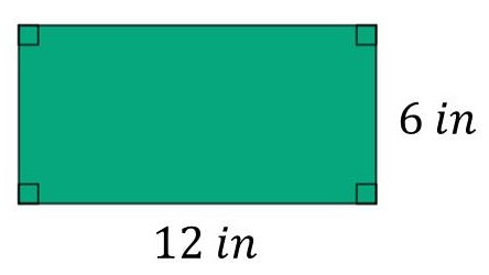 Perimeter of a rectangle when W=6 in and L=12 in