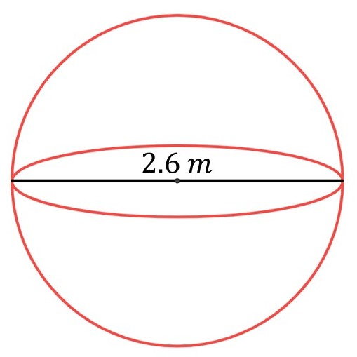 Find the volume of a sphere when diameter of the sphere is 2.6m