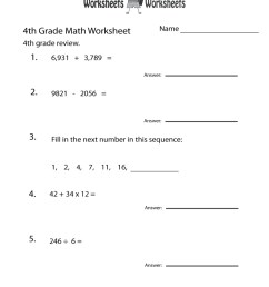 Printable Fun Math Worksheets For 4Th Grade Free Printable – Math Worksheets  Printable [ 1000 x 800 Pixel ]