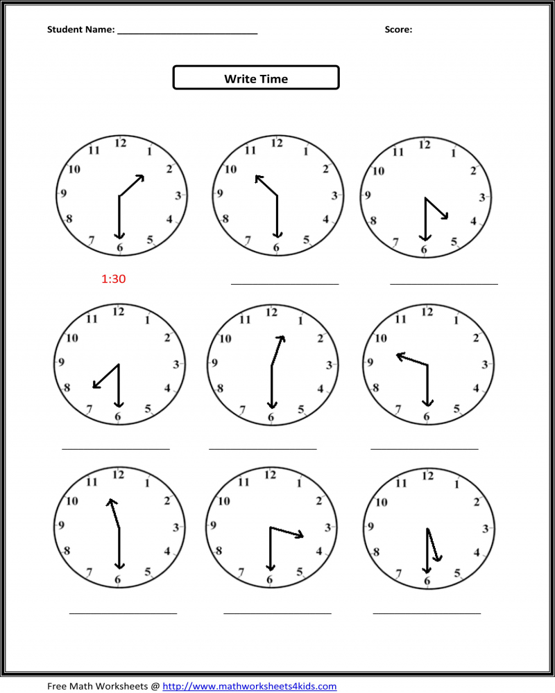 First Grade Math Worksheet Telling The Time Half Past 2