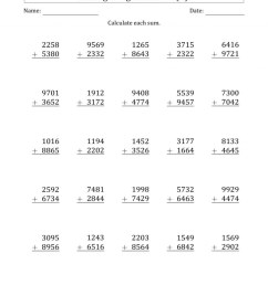 Addition Worksheets 4 Digit   Math Worksheets Printable [ 1000 x 800 Pixel ]