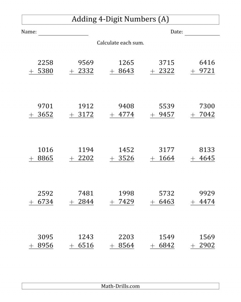 hight resolution of Addition Worksheets 4 Digit   Math Worksheets Printable