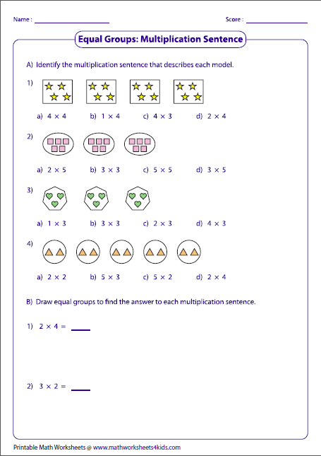 What Is Equal Groups In Math : equal, groups, Multiplication, Models, Worksheets