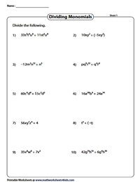 Dividing Monomials Worksheet : dividing, monomials, worksheet, Dividing, Polynomials, Worksheets