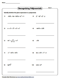 Polynomial Practice Worksheet : polynomial, practice, worksheet, Recognizing, Polynomials, Worksheets