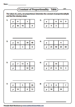 Constant Of Proportionality Tables Answer Key : constant, proportionality, tables, answer, Constant, Proportionality, Worksheets
