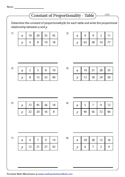 Constant Of Proportionality Tables Answer Key : constant, proportionality, tables, answer, Constant, Proportionality, Worksheet, Resource, Plans