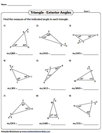 Triangle Sum And Exterior Angle Theorem Worksheet : triangle, exterior, angle, theorem, worksheet, Angle, Property, Exterior, Theorem, Triangle, Worksheets