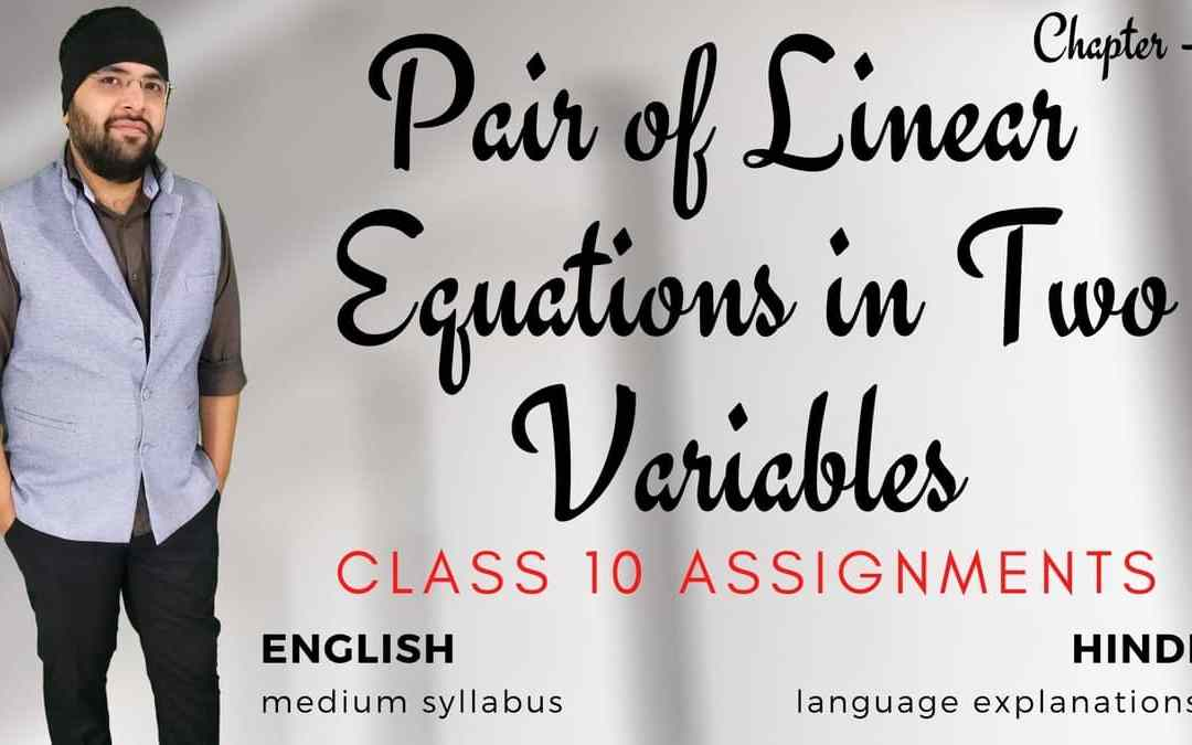 Pair of Linear Equations in Two Variables Class 10 Assignments