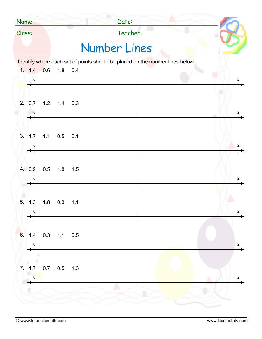 medium resolution of Number Line Worksheets pdf printable   MATH ZONE FOR KIDS