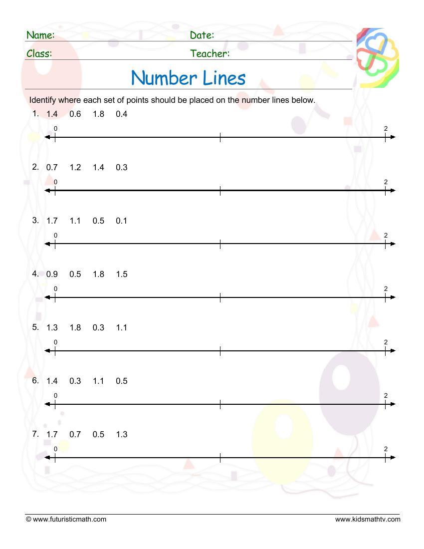 medium resolution of Number Line Worksheets pdf printable   MATH ZONE FOR KIDS