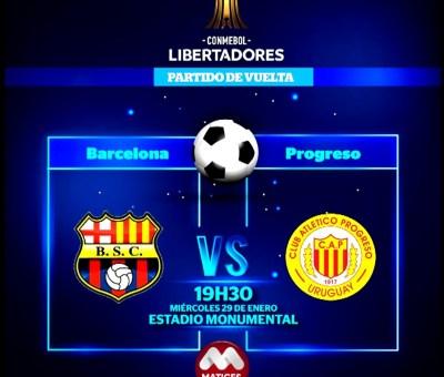 Esta noche Barcelona y Progreso se enfrentarán por el partido de vuelta de Copa Libertadores