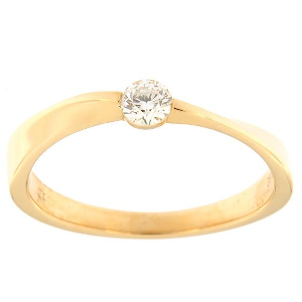 Kullast sõrmus teemantiga 0,15 ct. Kood: 100ax