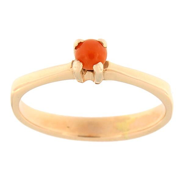 Kullast sõrmus punase koralliga Kood: 101pk