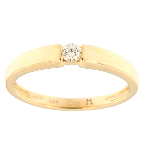 Kullast sõrmus teemantiga 0,08 ct. Kood: 106ak