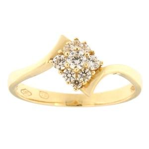 Kullast sõrmus tsirkoonidega Kood: 114pt