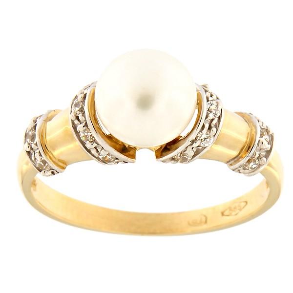 Kullast sõrmus tsirkoonide ja pärliga Kood: 122pt