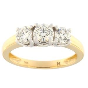 Золотое кольцо с бриллиантами 1,00 ct. Kод: 129ak