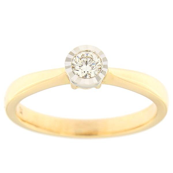 Kullast sõrmus teemantiga 0,15 ct. Kood: 206ak