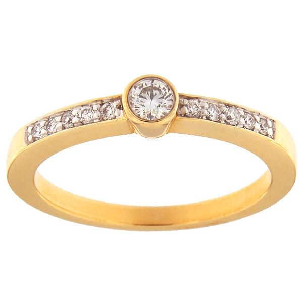 Kullast sõrmus teemantidega 0,20 ct. Kood: 53ax