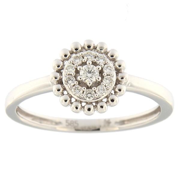 Kullast sõrmus teemantidega 0,13 ct. Kood: 58hk