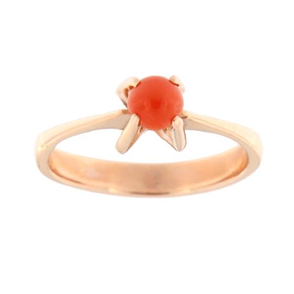 Kullast sõrmus punase koralliga Kood: 74pk