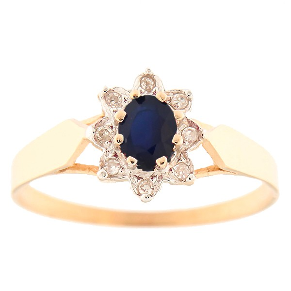 Gold ring with diamonds and sapphire Code: 7ce