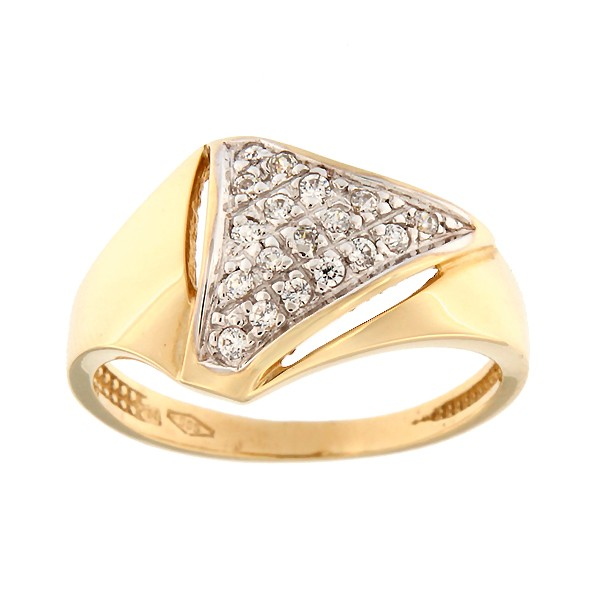 Gold ring with zircons Code: 7pa