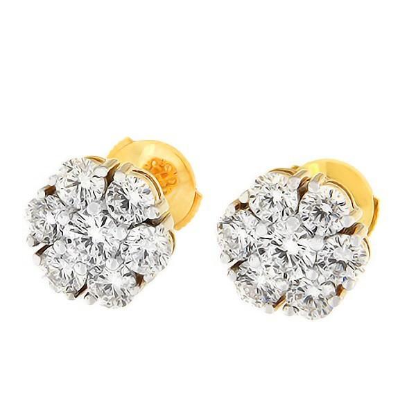 Kullast kõrvarõngad teemantidega 2,02 ct. Kood: 9an