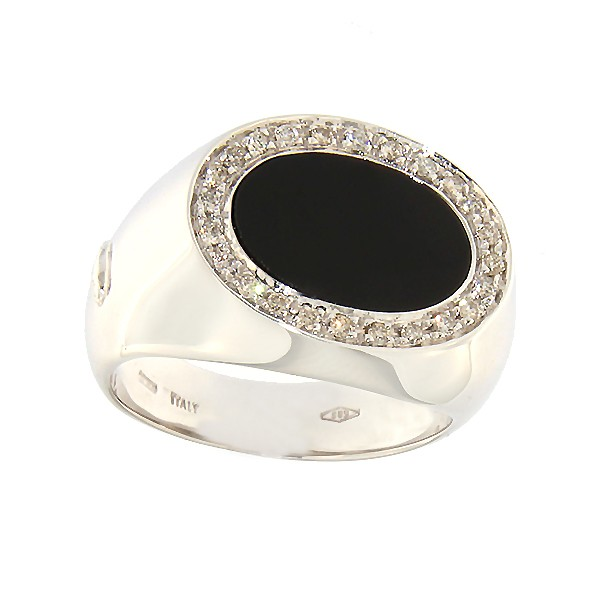 Gold men's ring with onyx and diamonds Code: b1037au