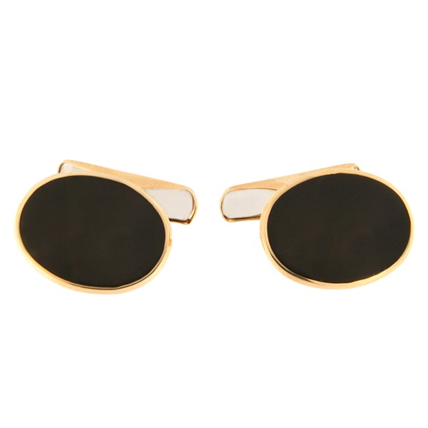 Gold cufflinks with onyx Code: cl0112
