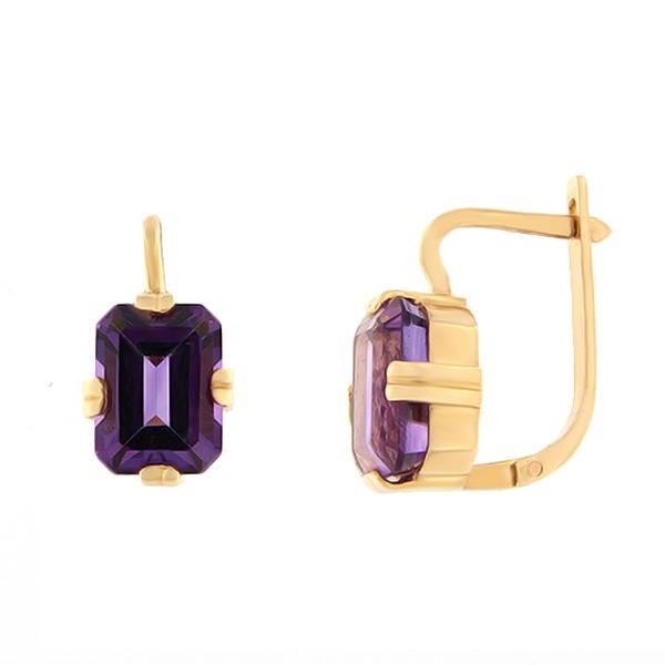 Kullast kõrvarõngad ametüstiga Kood: er0118-ametüst
