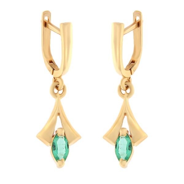 Kullast kõrvarõngad smaragd Kood: er0153-305-smaragd