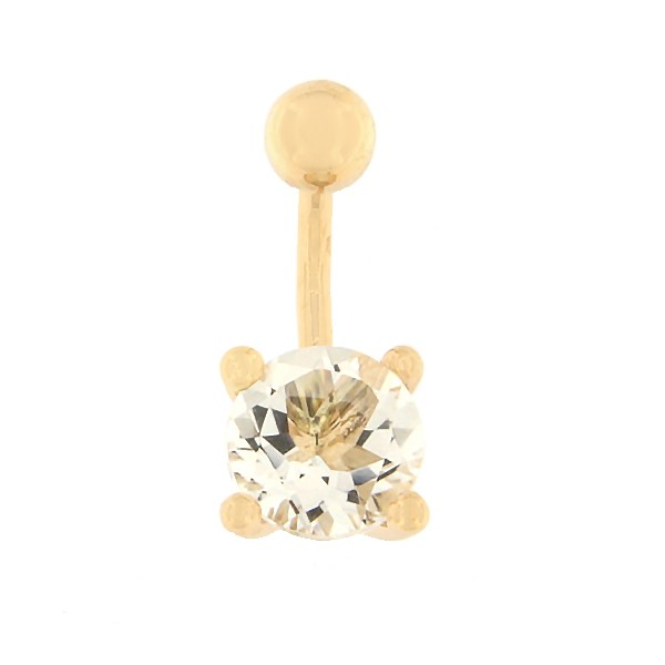 Gold belly button ring with mountain crystal Code: pn0141-maekristall