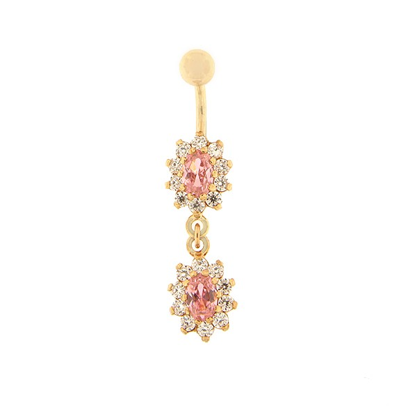 Gold belly button ring with zircon Code: pn0146-roosa-roosa