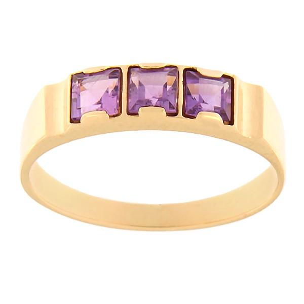 Kullast sõrmus ametüstiga Kood: rn0128-ametyst