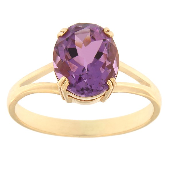 Gold ring with amethyst Code: rn0146-ametyst