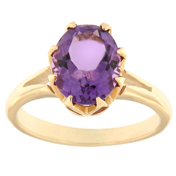 Gold ring with amethyst Code: rn0165-ametyst