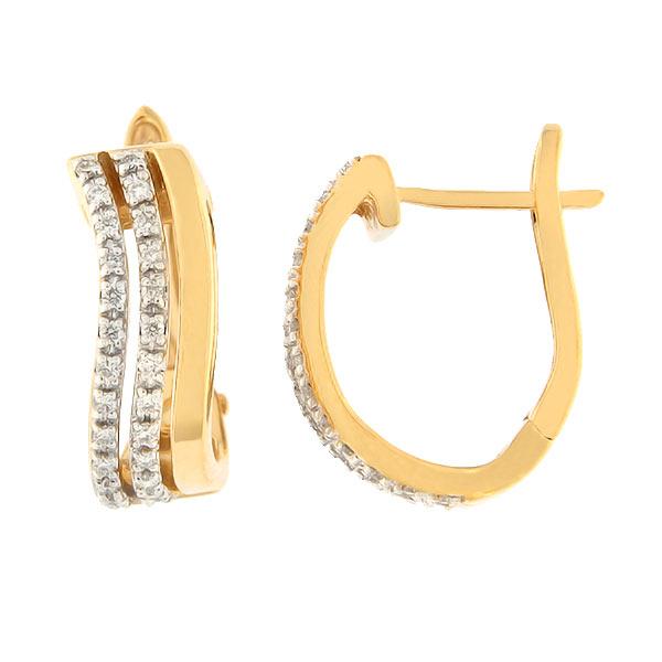 Kullast kõrvarõngad teemantidega 0,20 ct. Kood: 33ak