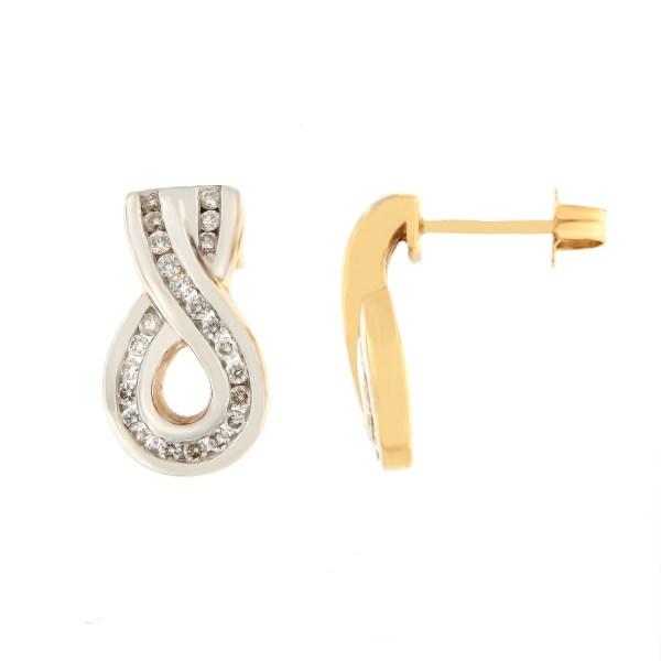 Kullast kõrvarõngad teemantidega 0,43 ct. Kood: 5dc