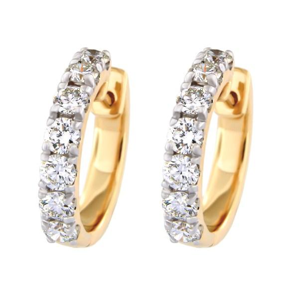 Kullast kõrvarõngad teemantidega 1,00 ct. Kood: 4at
