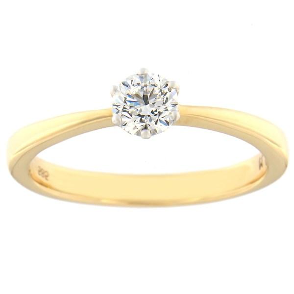 Kullast sõrmus teemantiga 0,41 ct. Kood: 96at