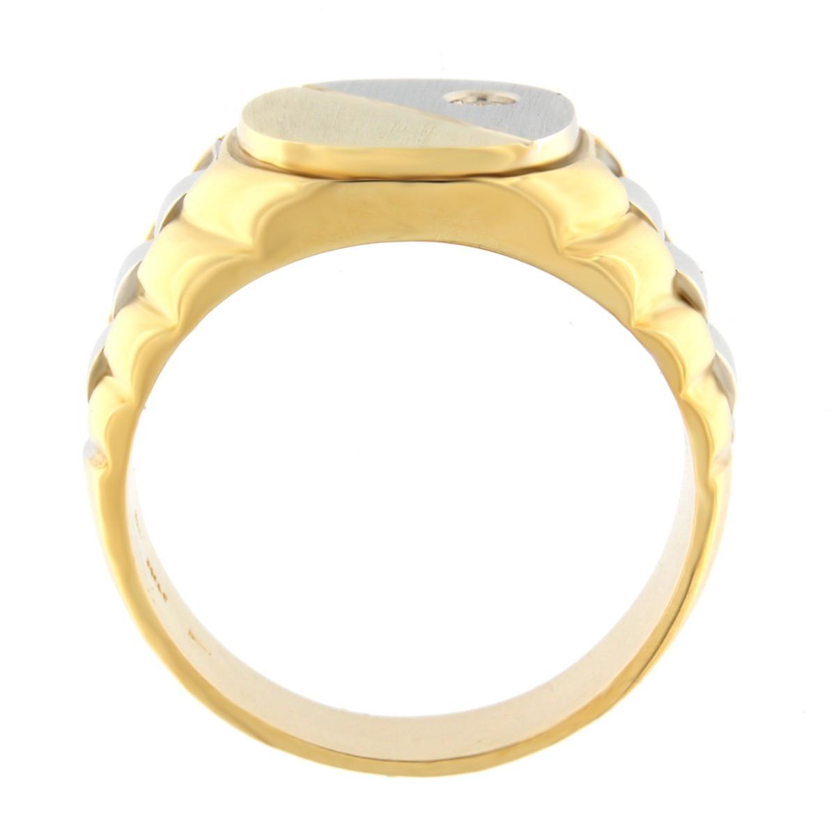 Kullast klotser teemantiga 0,05 ct. Kood: 1742b küljelt