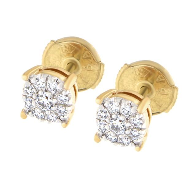 Kullast kõrvarõngad teemantidega 0,20 ct. Kood: 31at