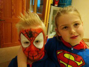 Superhero Costumes- Supergirl and Spiderman
