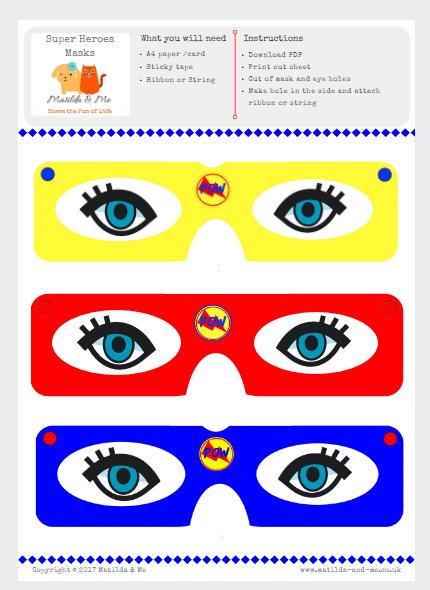 Free Superhero Masks Printables