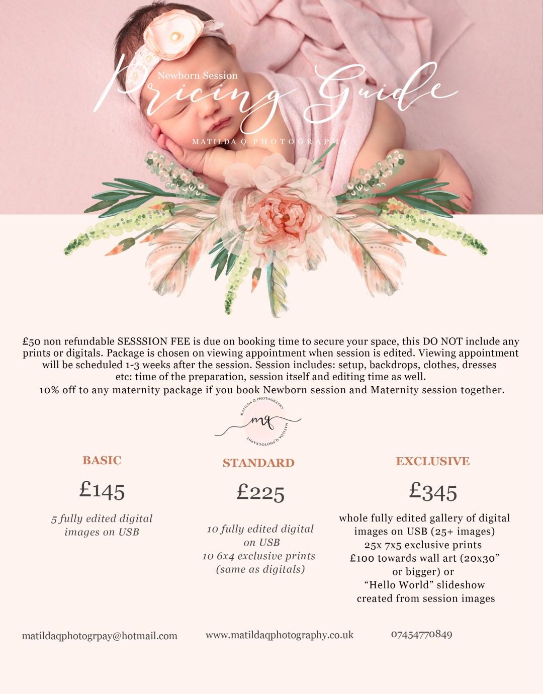 Matilda q photography newborn and baby portraiture pricing brochure