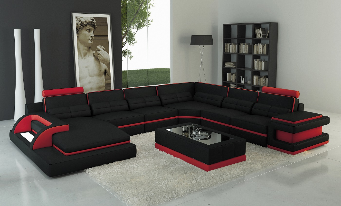 black and red leather sofa valencia recliner torro sectional with led lights trim matisseco touch to zoom